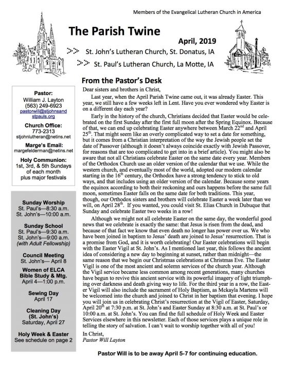 Click here to read the April 2019 issue of the Parish Twine.